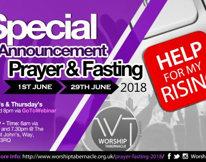 Prayer & Fasting: June 2018