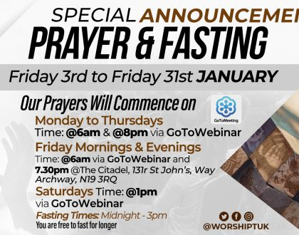 Prayer & Fasting 2020: January